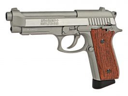 SWISS ARMS SA 92 CO2 STAINLESS AIR PISTOL, BROWN GRIP